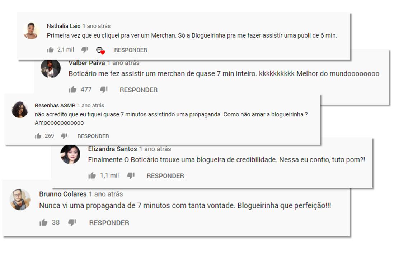print com os comentários do vídeo da campanha do O Boticario - Blogueirinha